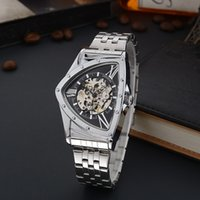 Wholesale triangle men watches - wengle New Men fashion seiko casual Hollow personality triangle pointer waterproof student Luxury dress Features mechanicalwatches
