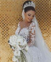 applique haarzusätze großhandel-2019 New Luxury Brautschleier Hochzeit Haarschmuck Weiß Elfenbein Lange Kristall Perlen Bling Spitze Tüll Kathedrale Länge 3 Mt Kirchenschleier