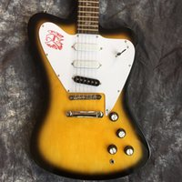 Wholesale Guitar Pickups White - Custom Shop Vintage Sunburst Yellow Non Reverse Fire Thunderbird Electric Guitar White Pickguard 3 Single Coil Pickups, Abalone Birds Inlay