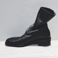 Wholesale british style flat shoe women resale online - British Style Vintage Martin Boots Back Zipper Wrink Leather Boots Womens Shoes