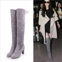 ata acima botas da coxa venda por atacado-Camurça do falso Botas Finas Sexy sobre o joelho alta moda feminina inverno coxa alta botas sapatos mulher