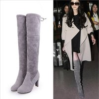Wholesale spring shoes sexy online - Faux Suede Slim Boots Sexy over the knee high women fashion winter thigh high boots shoes woman