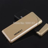 Wholesale Thin Gas Cigarette Lighter - Free Shipping Honest Ultra Thin Hot Pink Jet Flame Butane Gas Cigarette Cigar Windproof Black and Gold Lighter