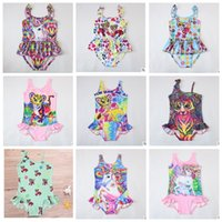 Wholesale cartoon girl swimming - INS Girls Unicorn Swimwear One Piece Tiger Swimsuit Bikini Big Kids Summer Cartoon Infant Swim Bathing Suits Beachwear 12 design KKA4478