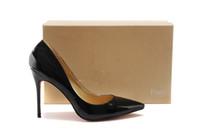 bombas de tacón alto sexy al por mayor-Zapato inferior rojo mujer tacones altos zapatos de las señoras 12 cm tacones bombas zapatos de mujer tacones altos sexy negro beige zapatos de boda