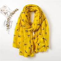 Wholesale scarves yellow free shipping resale online - 2018 New Fashion Swallow Print Scarf Women Animal Print Wrap Shawls Scarf Hijab