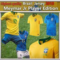 Wholesale High National - Highest Quality Brazil National Team 2018 World Cup home away jersey Men's Women Player Fans Version NEYMAR JR COUTINHO JESUS Soccer Jerseys