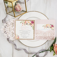 Wholesale new wedding invitations - Romantic Blush Pink Spring Flower Glittery Laser Cut Pocket Wedding Invitation Kits, Free Shipped by UPS