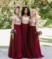 Wholesale Holiday Party Tops - Burgundy Country Two Pieces Bridesmaid Dresses 2018 Sequins Top Mix Style Long Holiday Junior Wedding Party Guest Dress Cheap