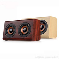 Wholesale dual aux - Wholesale 10W New W7 Retro Wood HIFI 3D Dual Loudspeakers Bluetooth Wireless Portable Speaker With Hands-free TF Card AUX IN for phones