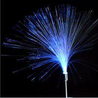 lumière optique à fibre optique achat en gros de-2pcs nouveauté couleur changeante lumière solaire fibre optique veilleuse lampe étanche jardin lumière de noël lumières éclairage extérieur