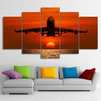 Wholesale abstract art paintings canvas free for sale - Group buy HD Printed Pieces Canvas Art Painting Sunset Airplane Sunset Wall Pictures For Living Room