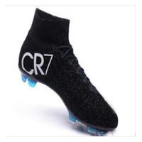 top de fútbol al por mayor-Original Negro CR7 Botas de fútbol Mercurial Superfly V FG Zapatos de fútbol C Ronaldo 7 Calidad superior de plata para hombre de fútbol Cleats