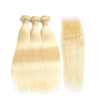 peruvian remy saç paketi toptan satış-Kraliçe Ön Renkli 613 Sarışın İnsan Saç Kapatma Ile Perulu Düz Dalga Demetleri Ile Dantel Kapatma Olmayan Remy Sarışın Kral Gül Kraliçe