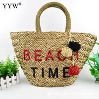 bolsos hechos a mano moda de verano al por mayor-YYW Marca Straw Handmade Bag Summer Beach Bags Fashion Shoulder Handbags Mujeres Diseñador Carta Tote Bolsa de Mano Bolsa Feminina