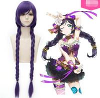 dunkellila flechthaar großhandel-Ly CS billige Verkaufstanzparty cosplayeLove Live! Tojo Nozomi dunkel lila Mode Braid Cosplay Perücken Haar