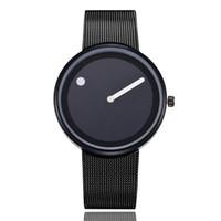 montres de design cool achat en gros de-Montres d'amoureux Cool Style Minimaliste Montre-bracelet en acier inoxydable Design créatif Dot et Line Simple élégant montres-bracelets à quartz
