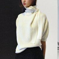 camisolas para escritório feminino venda por atacado-Outono Nova Moda Camisola Das Mulheres com Um Arco Gola Senhora Escritório Blusa Camisola Pullovers Meia Manga Camisola Branca