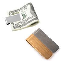 clipes de dinheiro inoxidável venda por atacado-2018 Novo Alta qualidade de aço inoxidável de bronze Clipe de Dinheiro Titular do Bilhete Clipe de Notas Pode personalizar o logotipo em lotes.