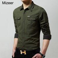 ingrosso uomo casuale di jersey dell'esercito-Camicia elegante da uomo in risvolto traspirante da uomo, in jersey casual da uomo, manica lunga verde militare