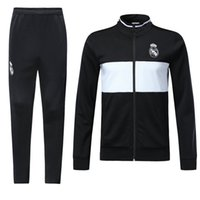 Wholesale mens suits sport coats - 18 19 Real Madrid Soccer Tracksuit Adult Thai Quality Jacket and Long Pants Mens Full Sleeve Winter Football Coats Trousers Sports Suits