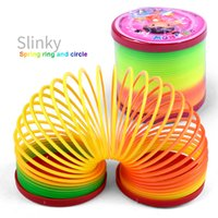 Spiele Metall Regenbogen Frühling Stress-Entlasten Kupfer Magie Slinky Spielzeug QP