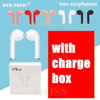 auriculares universales mic al por mayor-I7 I7S TWS Gemelos Auriculares Bluetooth Mini Auriculares inalámbricos Auriculares con micrófono Estéreo V4.2 Auriculares con cargador de alta calidad en blanco