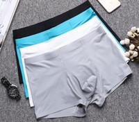 cuecas brancas pretas venda por atacado-Roupa interior dos homens de seda de gelo One Piece Respirável Boxer Briefs 4Colors (azul / cinza / branco / preto))