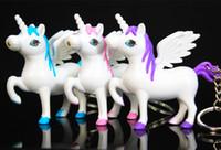 Wholesale light key ring - LED Unicorn Keychain Light & Sound Pegasus Horse Unicorn Key Chain LED Key Rings Fashion Accessories DROP SHIP 340027