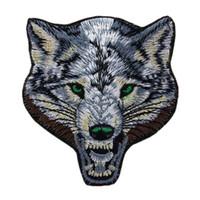 wolf aufkleber großhandel-Gestickte Tier Wolf Patches Nähen Eisen auf coole Abzeichen für Tasche Jeans Hut Applikationen DIY Aufkleber Dekoration Bekleidung Zubehör