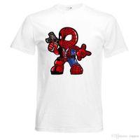 mitte tasarımları toptan satış-Tasarım Herren T-Shirt SPIDER MAN mit PISTOL SUPERHERO Comic 5 Farben S-2XL