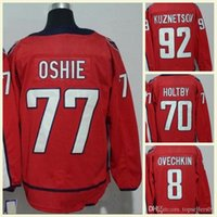 nhl, nakliye formatı yapıyor toptan satış-2018 Erkek NHL Jersey # 92 Kuznetsov # 70 Holtby # 19 Backstrom # 77 Oshie # 8 Alex Ovechkin Boş Kırmızı Buz Hokeyi Formalar Ücretsiz Kargo