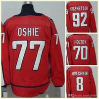 transporte dos jérseis do nhl venda por atacado-2018 Homens NHL Jersey # 92 Kuznetsov # 70 Holtby # 19 Backstrom # 77 Oshie # 8 Alex Ovechkin Em Branco Vermelho Hóquei No Gelo Jerseys Frete Grátis