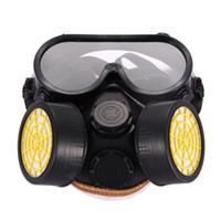 ingrosso spruzzare maschere-Alta qualità Sicurezza Anti polvere Spray Gas chimico Doppia cartuccia Respiratore Vernice Maschera filtro Occhiali in PVC Set di alta qualità Nuovo