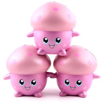 venta de juguetes para adultos al por mayor-Cartoon Smile Pink Mushroom Squishy Super Slow Rising Kawaii Squishies Pan Reduce Adults Tool Toys Venta caliente 11sq Z