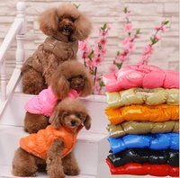 Wholesale Dog Clothing Jackets - Winter Warm Pets Dog Coat Puppy Thick Jacket Apparel casual Puppy vest warm cotton dog clothing winter pet apparel KKA3917