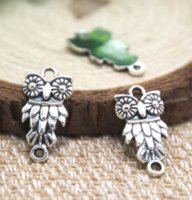 Wholesale connector pendant beads for sale - Group buy 30pcs Owls Charms Antique silver owl charm pendant Bird Beads and Charms connector x21mm