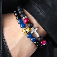 ingrosso perline di braccialetti religiosi-1 PZ Gioielli Totem Religioso 8mm Matte Onyx Colori Tiger Eye Perline di Pietra Con Clear Cz Royal Croce Gesù Bracciali Per Il Partito