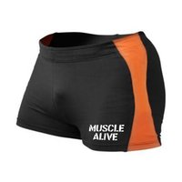 Wholesale Muscle Beach - Wholesale-MUSCLE ALIVE Brand Clothing Bodybuilding Tight Shorts Men Fitness Short Spandex Compression Board ShortPants Beach Elastic Waist