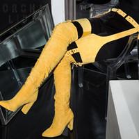каблук плиссированный оптовых-ORCHA LISA зима T-ремень над коленом сапоги Женские бедра высокие сапоги квадратный высокий каблук плиссированные острым носом пояса женская обувь