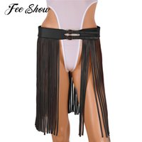 кожа хиппи оптовых-Women Fashion Faux Leather Hippie Boho Waist Belt Harness Adjustable Hippie Boho Buckle Soft Waist Belt with Long Fringe Tassels