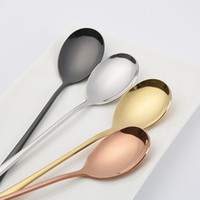 Korean Spoon 4color 304 Stainless Steel Korean Serving Spoon Set High Quality Mixing Spoons 205mm Korean Dinnerware Set Kitchen Accessories