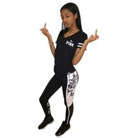 Wholesale Wholesale Hot Pink Tee Shirts - Love Pink letter Sports Suit black Tracksuits Sportswear set Short Sleeve T shirt Tee Tops Pants yoga track gym Outfit hot