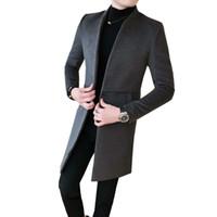 erkek uzun elbiseler toptan satış-Yeni Moda Erkekler Uzun kollu Yaka Yün Coat Siyah Koyu Gri Ince Zarif Erkek Iş Ziyafet Casual Elbise Ceketler