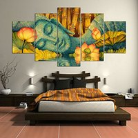 Wholesale abstract art oil painting buddha for sale - Group buy Premium Quality Canvas Handmade Wall Art Pieces Wall Decor Buddha And Flower Oil Painting For Home Decor Pictures