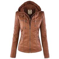 гидроизоляция для одежды оптовых-Женщины куртки Женские искусственной кожи куртка с длинным рукавом Hat съемный основные пальто водонепроницаемый ветрозащитный зимняя женская одежда