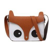 eule schultaschen taschen großhandel-Niedliche Fox Owl Schulter Messenger Bag Pu Leder Crossbody Satchel Handtasche - Khaki