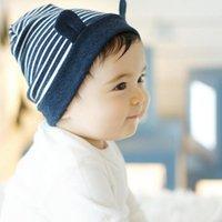 ingrosso berretto da neonati-Cappello in cotone morbido con orecchino a righe Beanie Bambino neonato in berretto con cappuccio per bambina