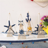 wooden model boats 2018 - Wooden Sailboat Model Home Decoration Antique Imitation Handmade Sailing Boat Mediterranean Style Arts And Crafts Home Decoration