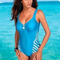 Wholesale plus size lady swimwear online - Woman Swimsuit One Piece Suits Stripe Plus Size Bathing Suits Lady Swimwear Vintage Summer Beach Wear Femme Bikini hb V